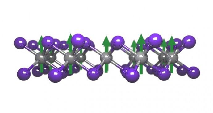 미국 매사추세츠공대(MIT) 연구진은 강자성체인 덩어리 형태의 크롬트리요오드화합물을 한 층 떼어내 원자 한 층 두께의 2차원 자석을 만들었다. 2차원이면서도 3차원만큼 센 자성을 나타내는 물질을 개발하는 게 앞으로의 과제다. - 네이처 제공